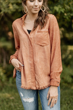 RESTOCK Wide Open Spaces Mineral Wash Rust Blouse
