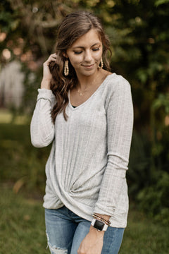 Gray Knit V-Neck Twist-Front Top