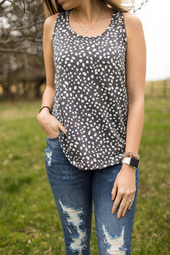 On The Dot Dalmatian Print Tank - Charcoal