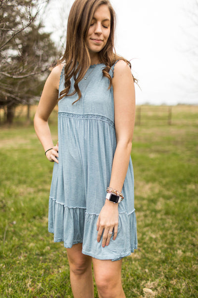 Blue Skies Day Dress With Lace Details