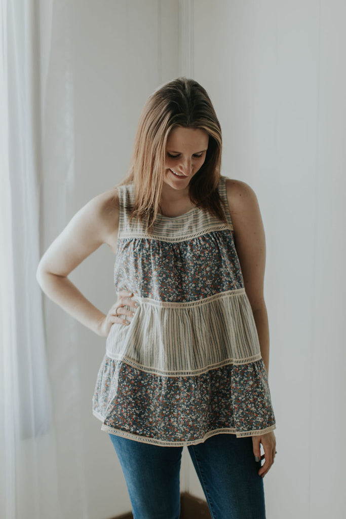 Easy Breezy Floral & Stripe Babydoll Tank With Lace Trims