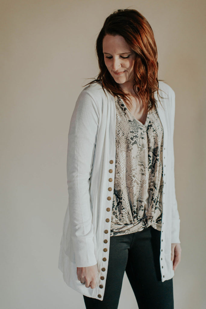 Ivory Snap Front Long Cardigan
