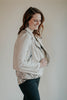 Antique Ivory Assymetrical Zip Cropped Moto Jacket