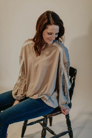 Free Spirit Neutral Pieced Top With Lace Details
