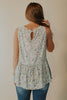 BeYOUtiful Mint Floral Babydoll Sleeveless Top With Lace Details