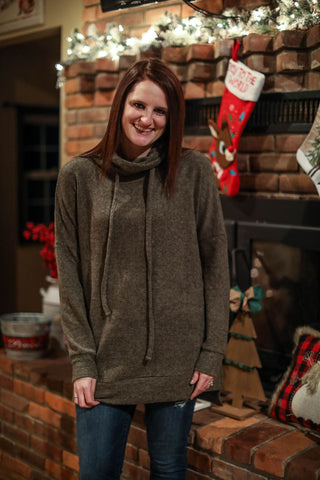 Run Run Rudolf Brushed Olive Tunic Sweater