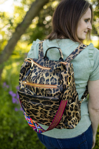 Standout Leopard Backpack With Colorful Strap