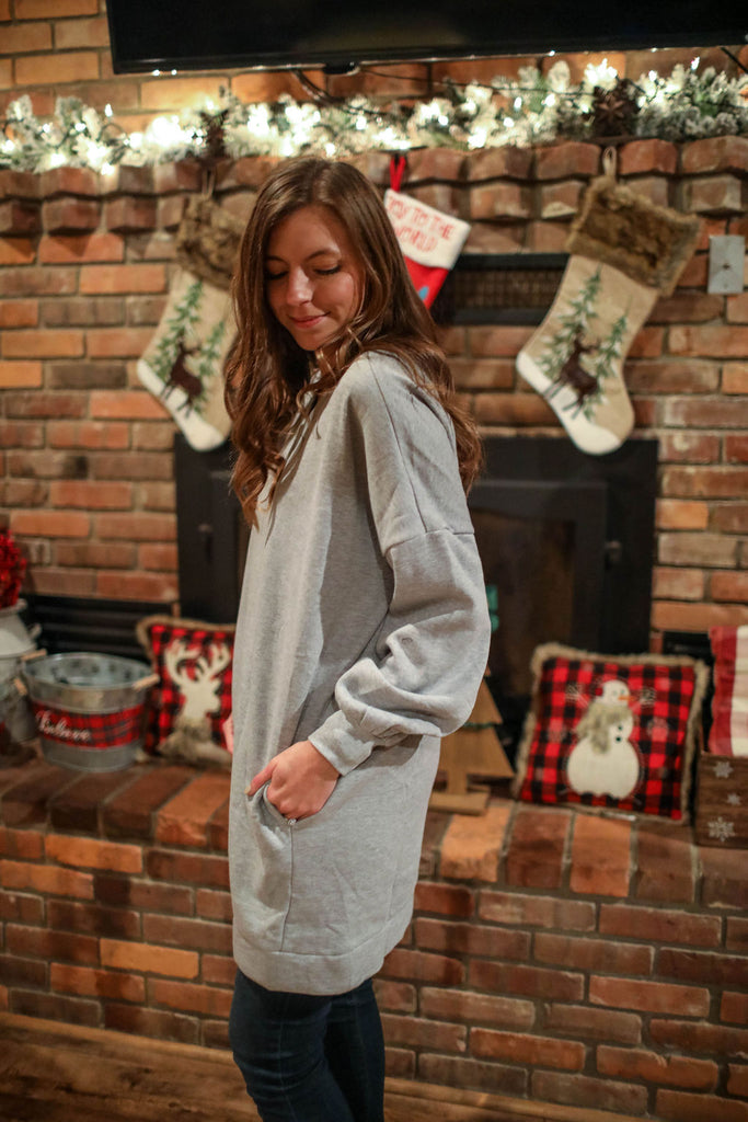 Heather Gray Long V-neck Sweatshirt