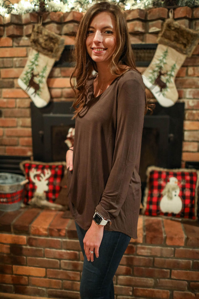 Olive Comfort Basic Long Sleeve Top