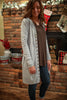 Light Gray Snap Front Long Cardigan