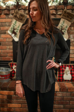 Charcoal Comfort Basic Long Sleeve Top