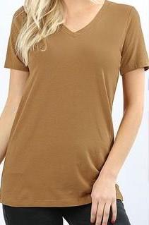 Aged Mustard Basic V-Neck Tee w/Stretch