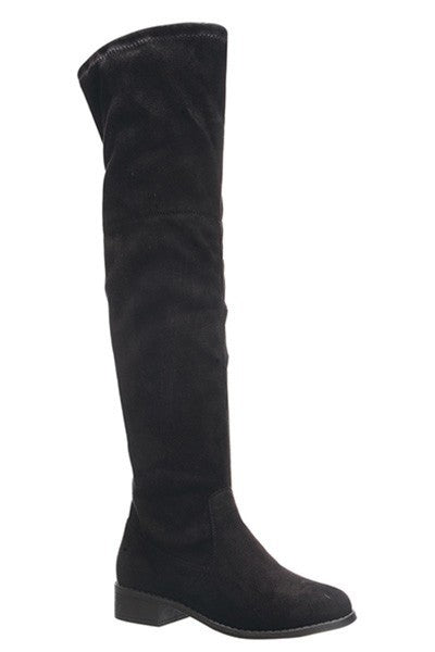 Over The Knee Black Flat Suede Boots