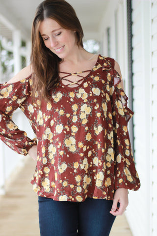 Burgundy Floral Cold Shoulder Ruffled Sleeve Top