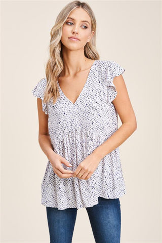 Born With It Babydoll Blouse With Flutter Sleeves