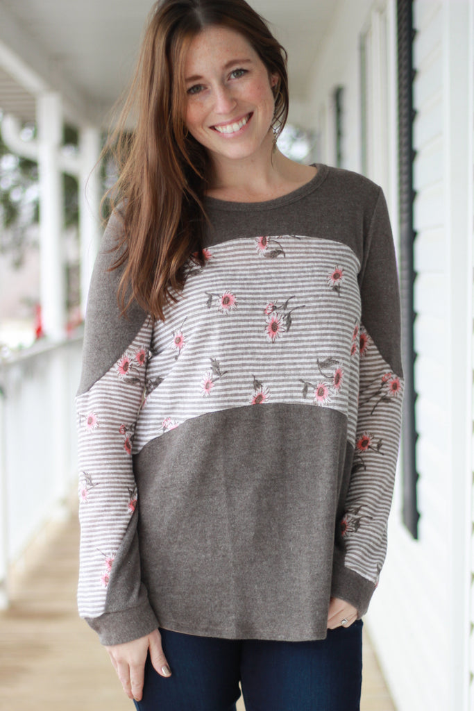 Brushed Mocha Floral Pieced Top