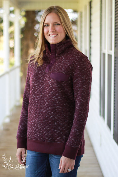 Deep Eggplant Quilted Pullover
