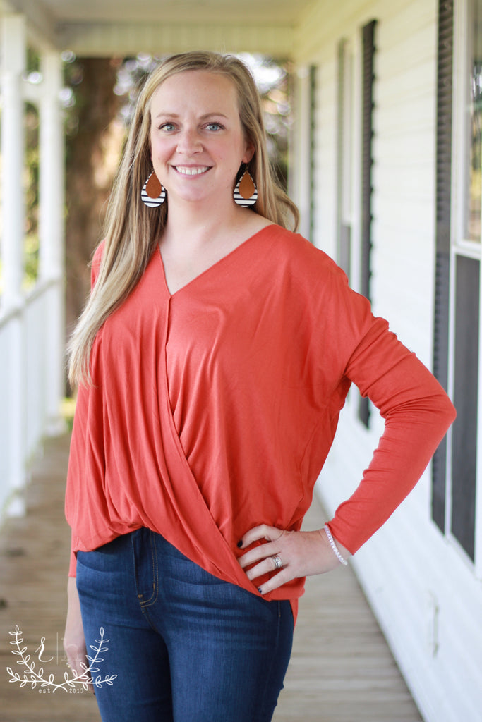 Burnt Orange Long Sleeve Wrap Front Top