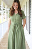 Faded Sage Prairie Cotton Button Front Dress