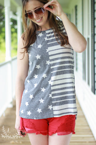 Gray Stars & Stripes Sleeveless Patriotic Tank