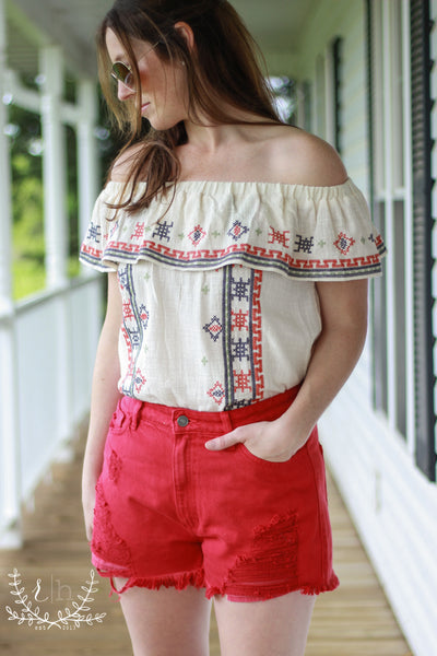 High Rise Red Destructed Denim Shorts