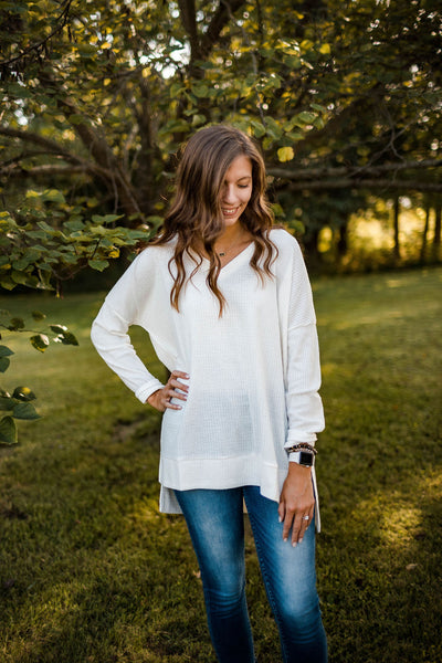 Oversized Ivory Knit V-Neck Top