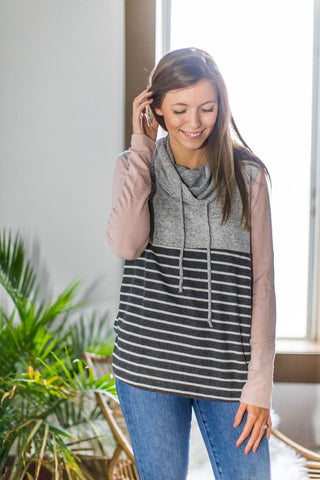 Heather Gray & Blush Drawstring Cowl Pullover