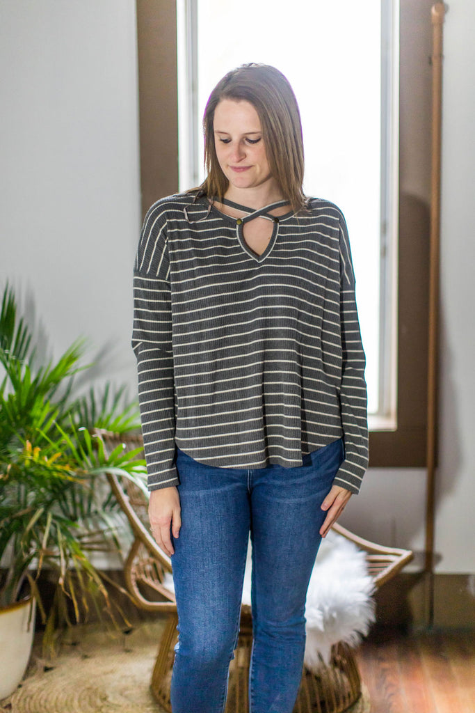 Charcoal Striped Ribbed Criss Cross Top