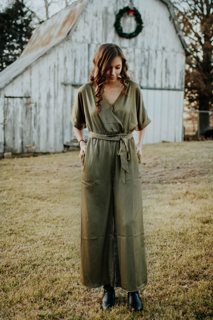Silky Moss Green Jumpsuit with Pockets
