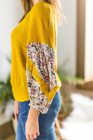 Mustard Knit Top With Floral & Lace Piecing
