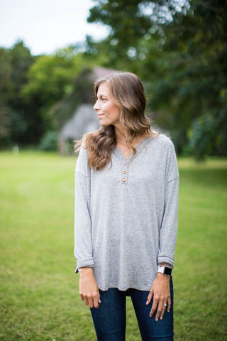 Brushed Warm Heather Gray Henley