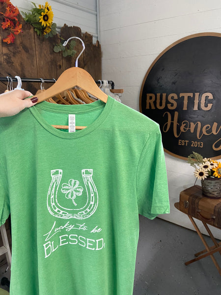 Lucky To Be Blessed Graphic Tee - Rustic Honey Label
