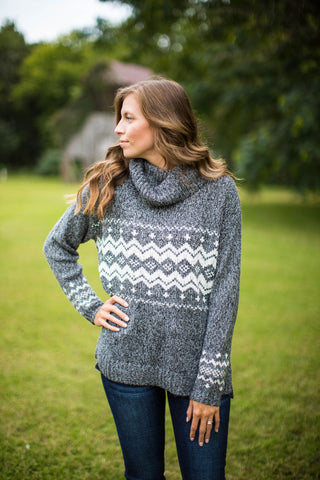 Gray & Ivory Turtle Neck Sweater