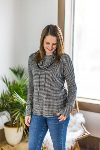Charcoal Waffle Cowl Neck Pullover