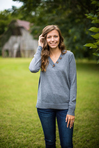 Gray V-Neck Pullover Sweater With Button Details