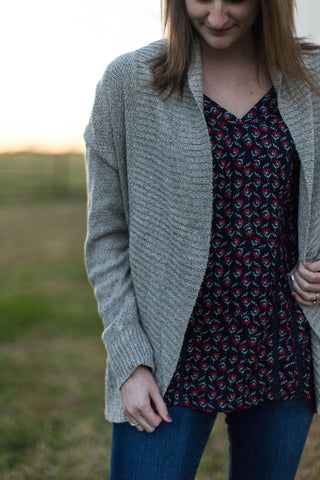Taupe Ribbed Band Cocoon Cardigan