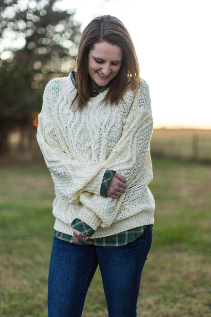Cream Pom Pom Knit Sweater