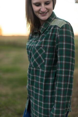 Green Plaid With Knit Shoulder Piecing