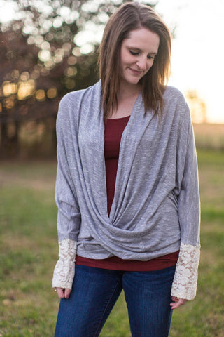 Gray Open Wrap Top With Lace Sleeve Details