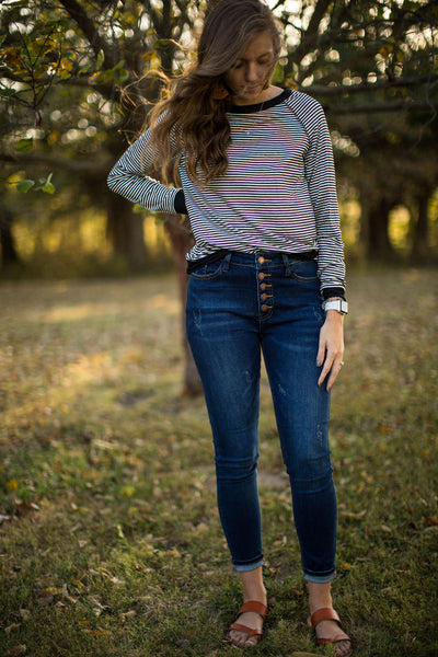 Button Fly Dark Wash Skinny Jeans - Judy Blue