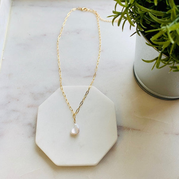 Fresh Water Pearl Paper Clip Drop Necklace