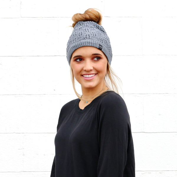 P.S. Winter Knit Peek-a-boo Messy Bun Beanies
