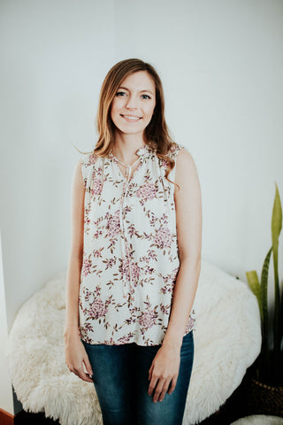 Spring Floral Sleeveless Blouse