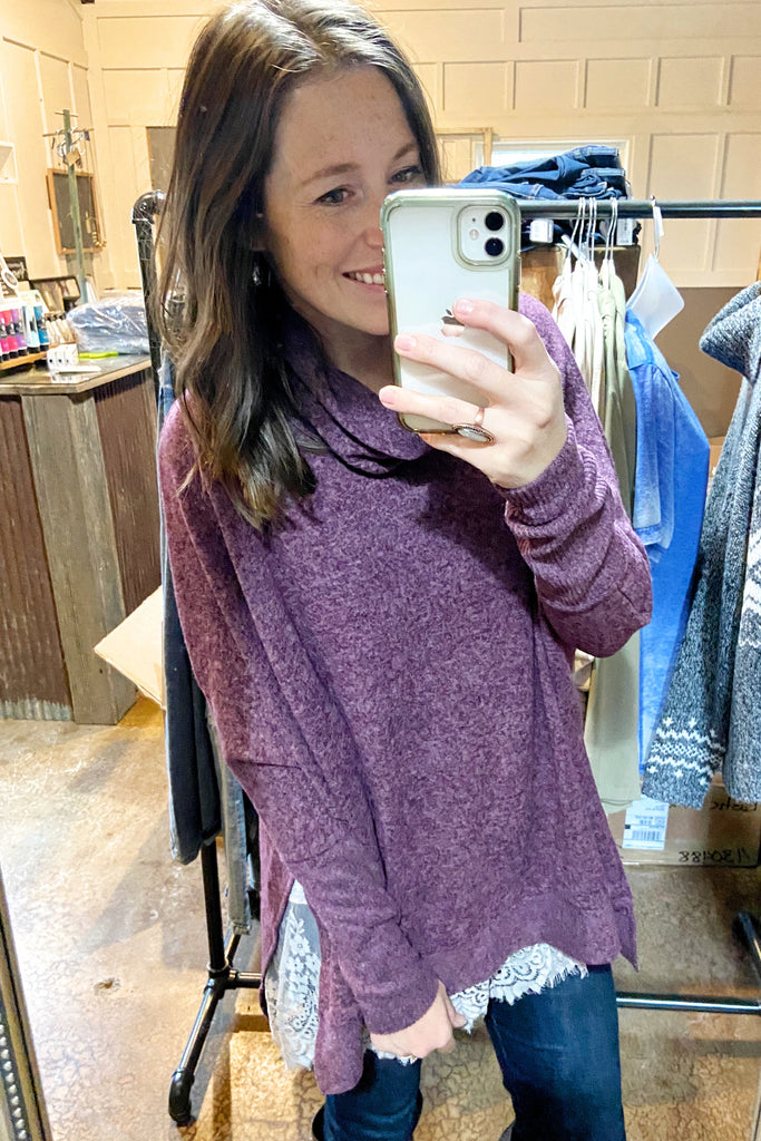 Eggplant Brushed Cowl Neck Poncho Sweater