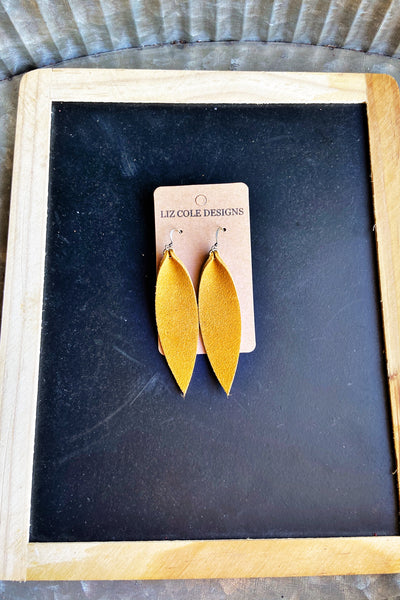 Handmade Leather Mustard Earrings