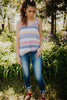 Vintage Tri-blend Striped Tank With Twist Front