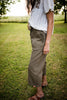 Olive Cargo Wide Leg Crop Pants