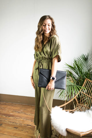 Silky Olive Jumpsuit with Pockets