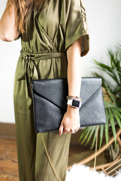 Black Oversized Envelope Clutch