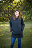 Cozy Charcoal Long Crew Neck Sweatshirt With Pockets